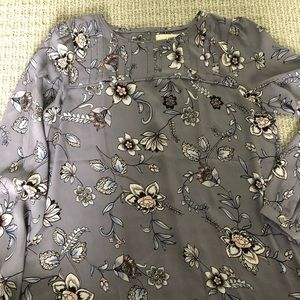 LOFT Purple Floral Pleated Blouse - BRAND NEW